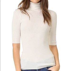 Theory Leenda B Wool Turtleneck Top in Ivory